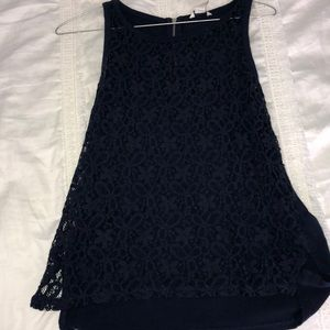 Navy Tank top with lace in the front